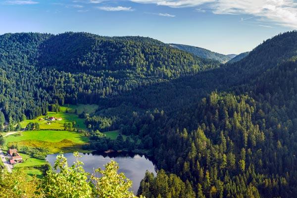 Paysage des Vosges du Nord, montagnes, lac